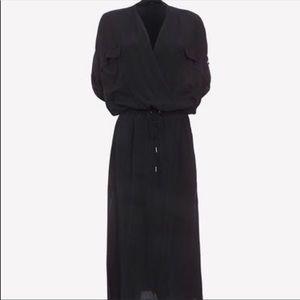 Helmut Lang Gaze Crepe Crossover Midi Dress